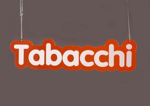 """CARTELLO IN PLEXIGLASS CON SCRITTA """"TABACCHI"""""""
