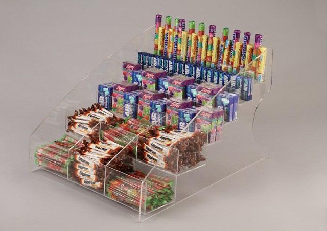 Espositore da banco per caramelle e oggetti vari a 6 piani for Piccoli piani di fattoria a 2 piani