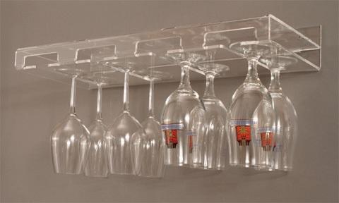 Mensola da parete autoportante per bicchieri da vino e birra a 4 postazioni