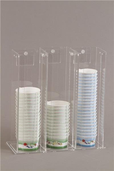 Espositore porta coppette gelato in plexiglas 3 colonne