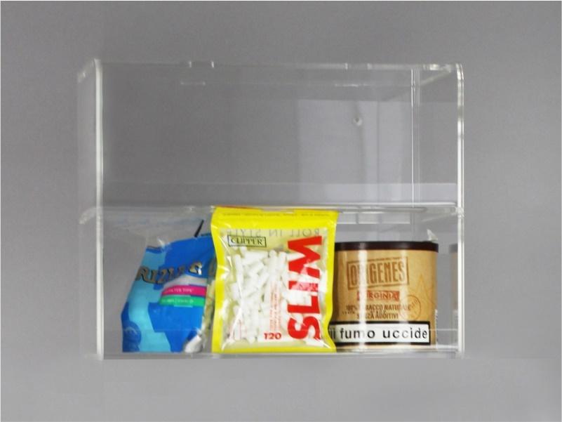 Espositore per caramelle confezionate, accendini da banco e parete a 2 piani senza riparo frontale
