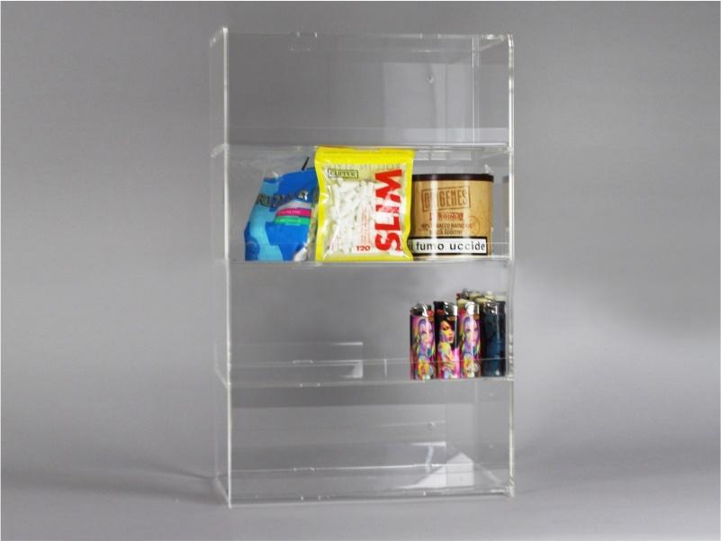 Espositore per caramelle confezionate, accendini da banco e parete a 4 piani senza riparo frontale