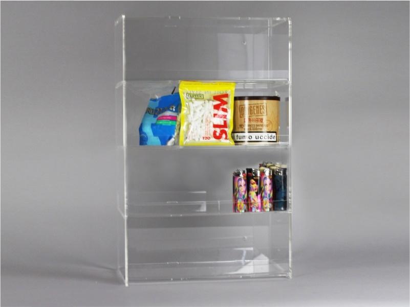 Espositore per caramelle confezionate, accendini  da banco e parete a 5 piani senza riparo frontale