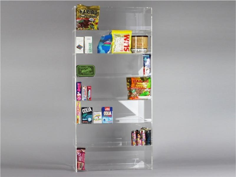 Espositore per caramelle confezionate, accendini da banco e parete a 7 piani senza riparo frontale