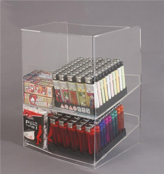 Espositore per caramelle confezionate, accendini e vari da banco a 2 piani con riparo frontale