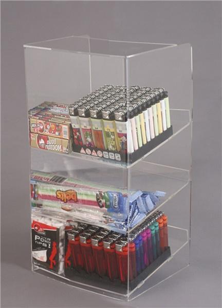 Espositore per caramelle confezionate, accendini e vari da banco a 3 piani con riparo frontale
