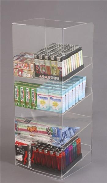 Espositore per caramelle confezionate, accendini e vari da banco a 4 piani con riparo frontale