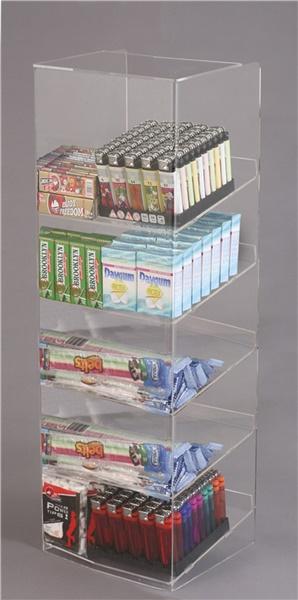 Espositore per caramelle confezionate, accendini e vari da banco a 5 piani con riparo frontale