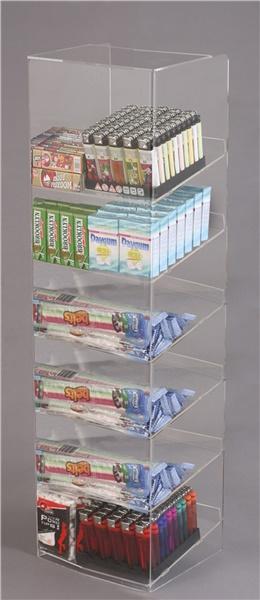 Espositore per caramelle confezionate, accendini e vari da banco a 6 piani con riparo frontale