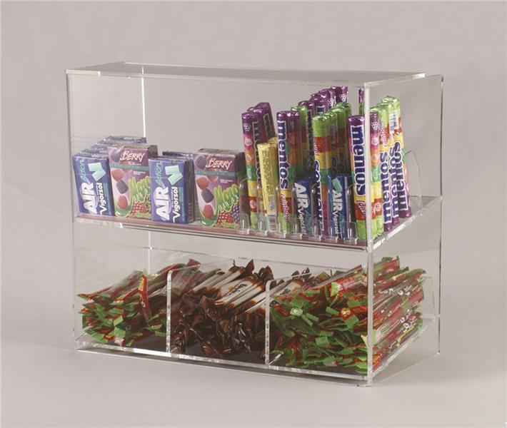 Espositore per caramelle confezionate, accendini e vari 2 piani da banco con riparo frontale