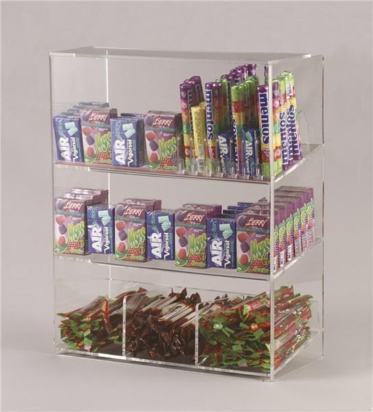 Espositore per caramelle confezionate, accendini e vari a 3 piani da banco con riparo frontale