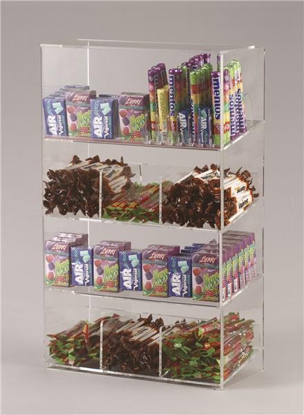 Espositore per caramelle confezionate, accendini e vari a 4 piani da banco con riparo frontale