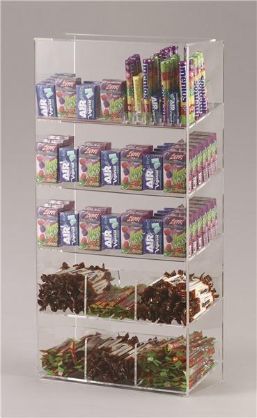 Espositore per caramelle confezionate, accendini e vari a 5 piani da banco con riparo frontale