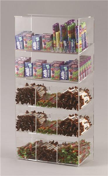 Espositore per caramelle confezionate, accendini e vari a 5 piani con riparo frontale