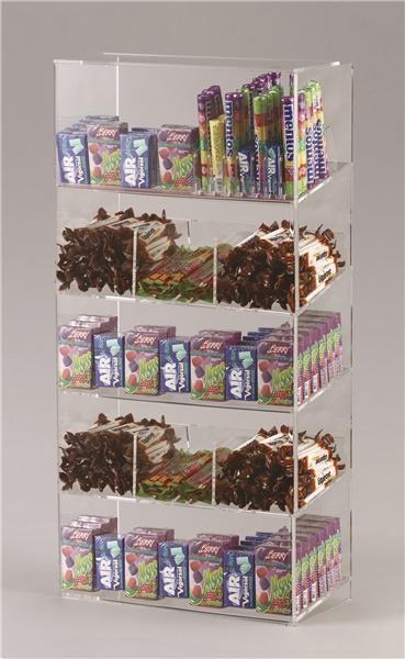 Espositore per caramelle confezionate, accendini e vari 5 piani con riparo frontale