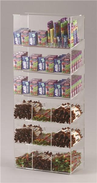 Espositore per caramelle confezionate, accendini e vari 6 piani con riparo frontale