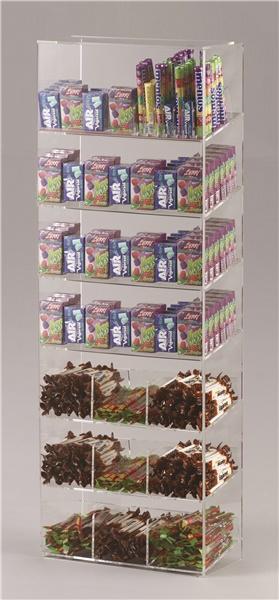 Espositore per caramelle confezionate, accendini e vari a 7 piani con riparo frontale
