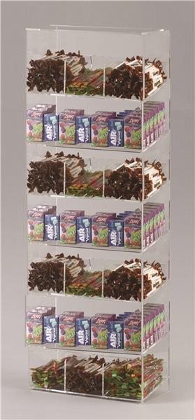 Espositore per caramelle confezionate, accendini e vari da banco a 7 piani con riparo frontale