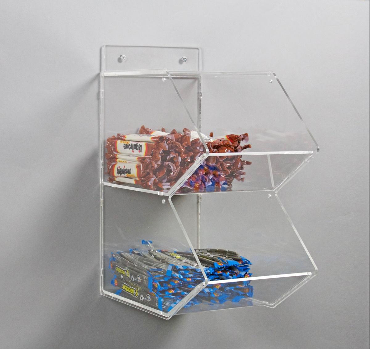 Espositore per caramelle confezionate a 2 piani da parete