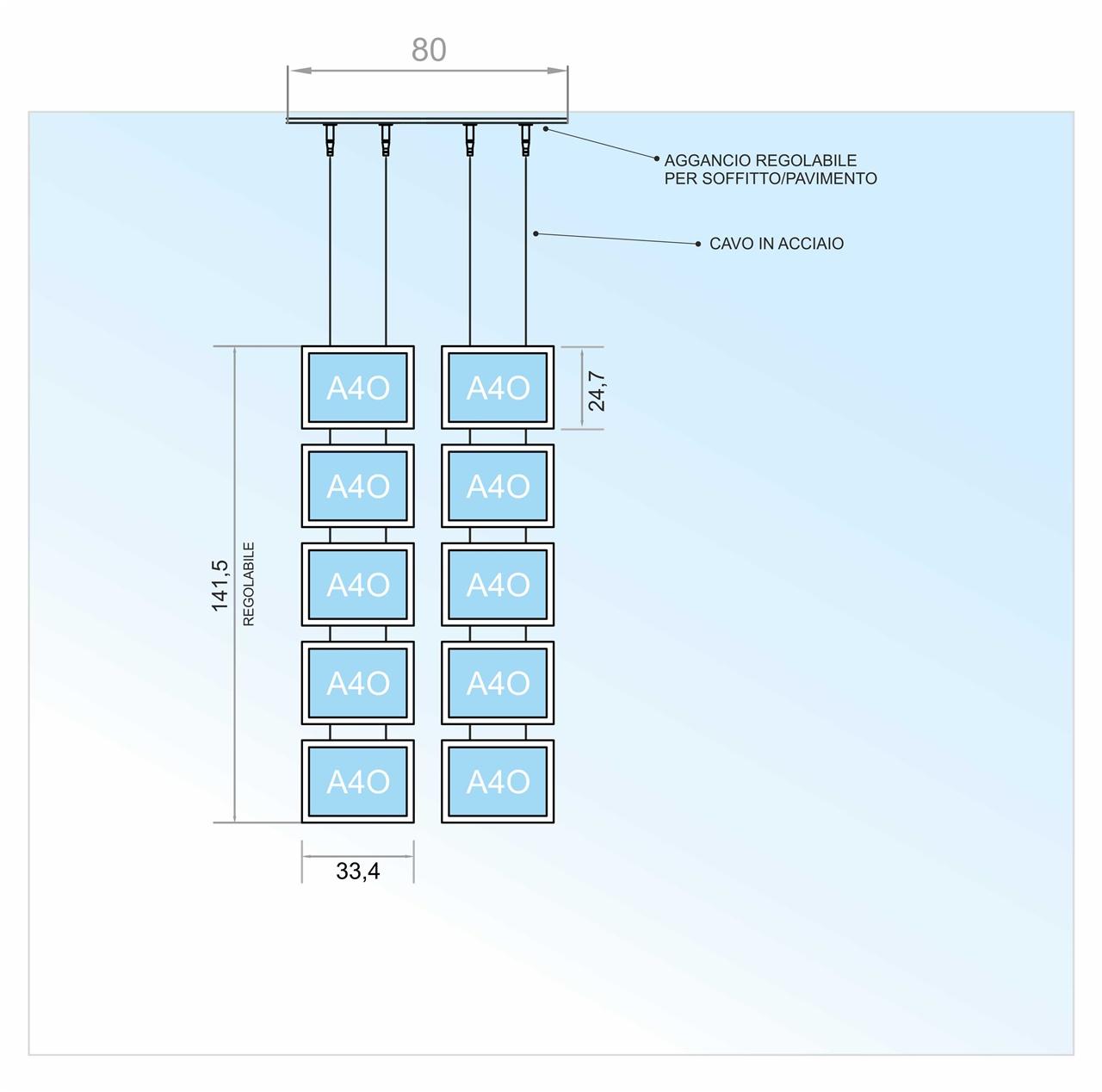 Espositore a cavetti con 10 tasche a led f.to A4 orizzontale (5 V. x 2 O.)