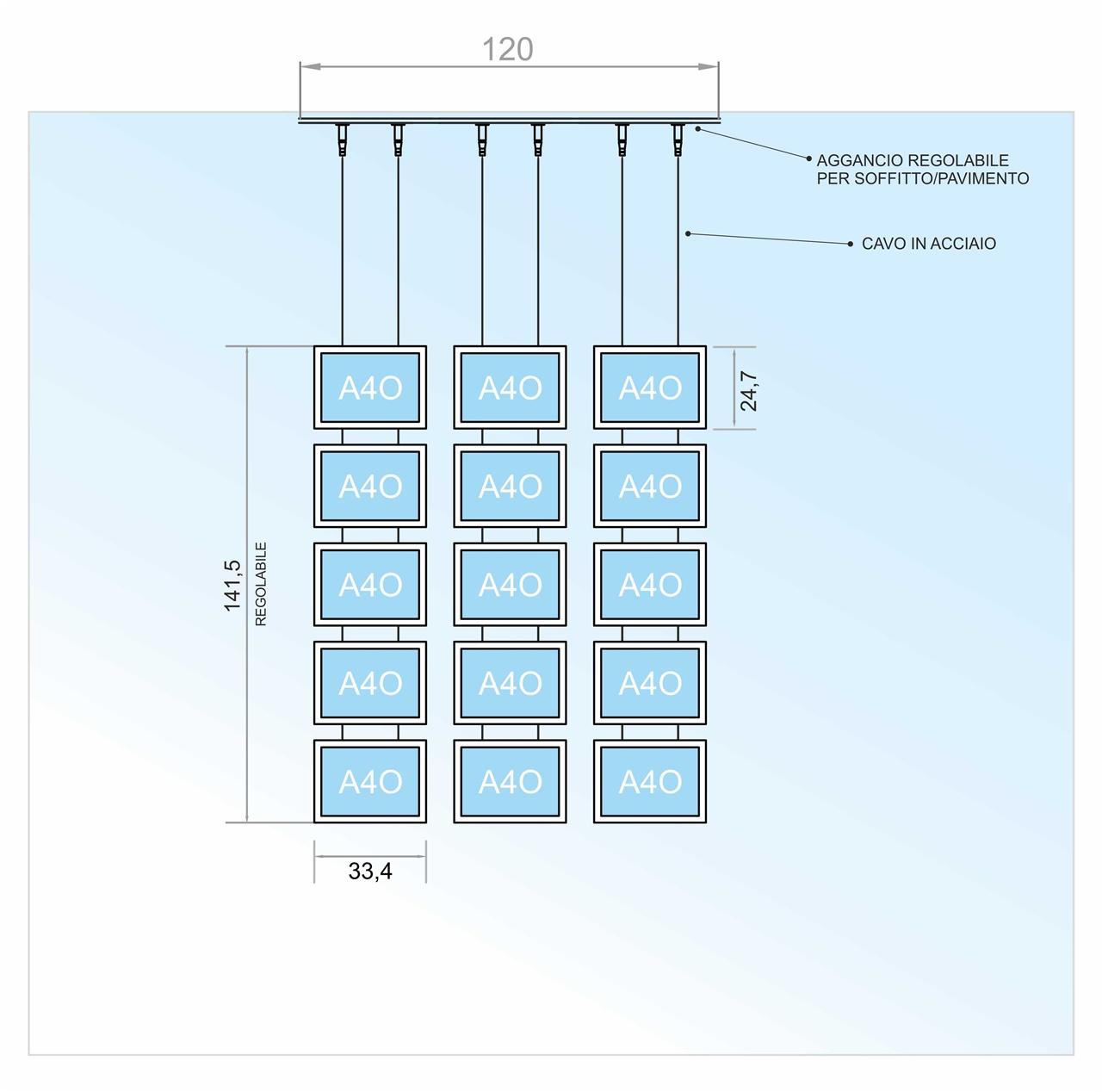 Espositore a cavetti con 15 tasche a led f.to A4 orizzontale (5 V. x 3 O.)