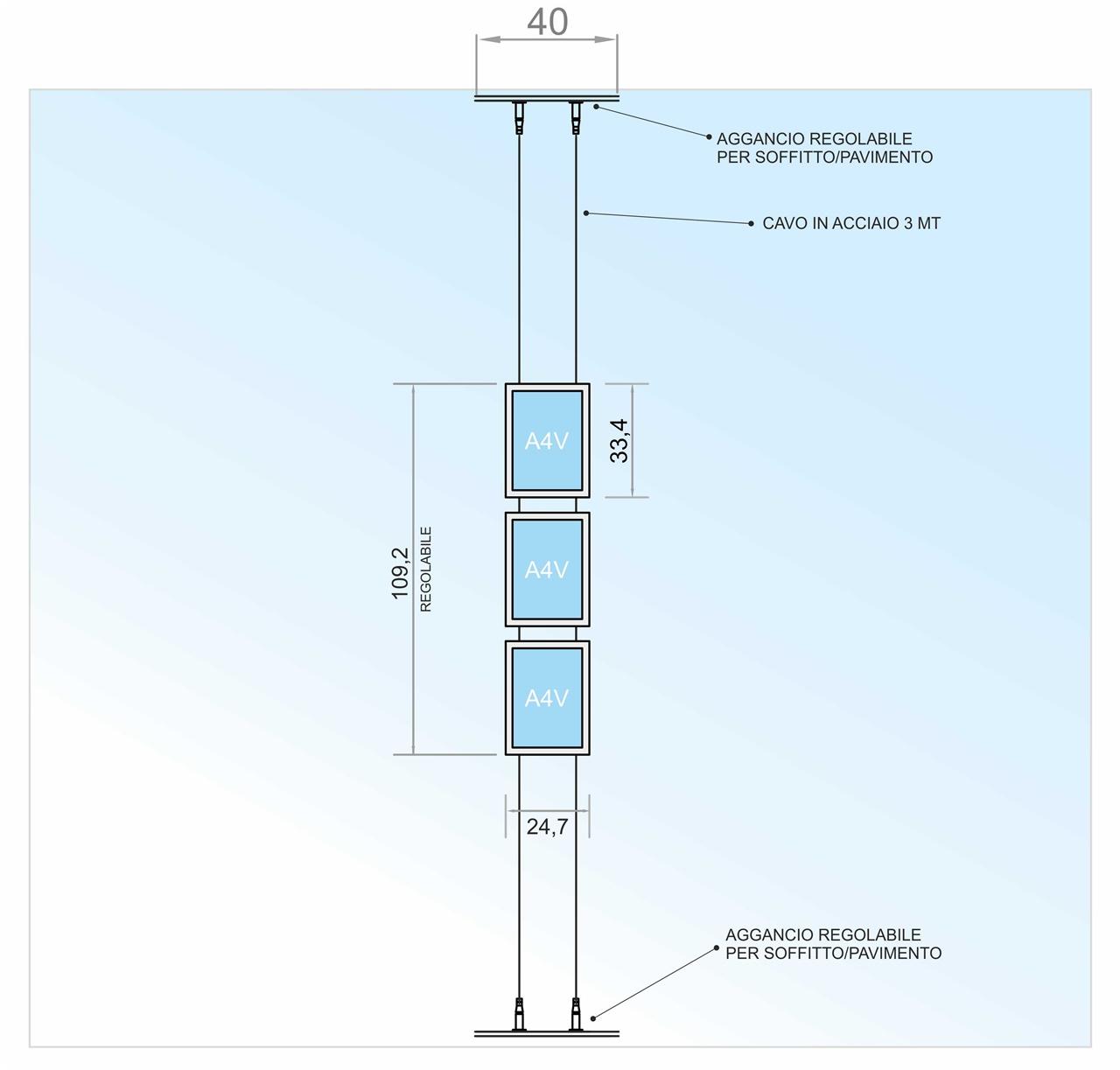 Espositore a cavetto con 3 tasche f.to A4 verticali (3 V. x 1 O.)