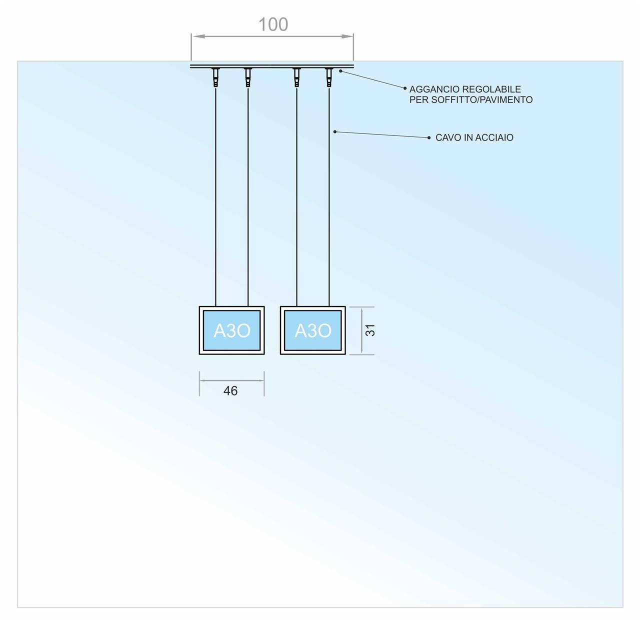 Espositore a cavetti con 2 tasche a led f.to A3 orizzontale (1 V. x 2 O.)