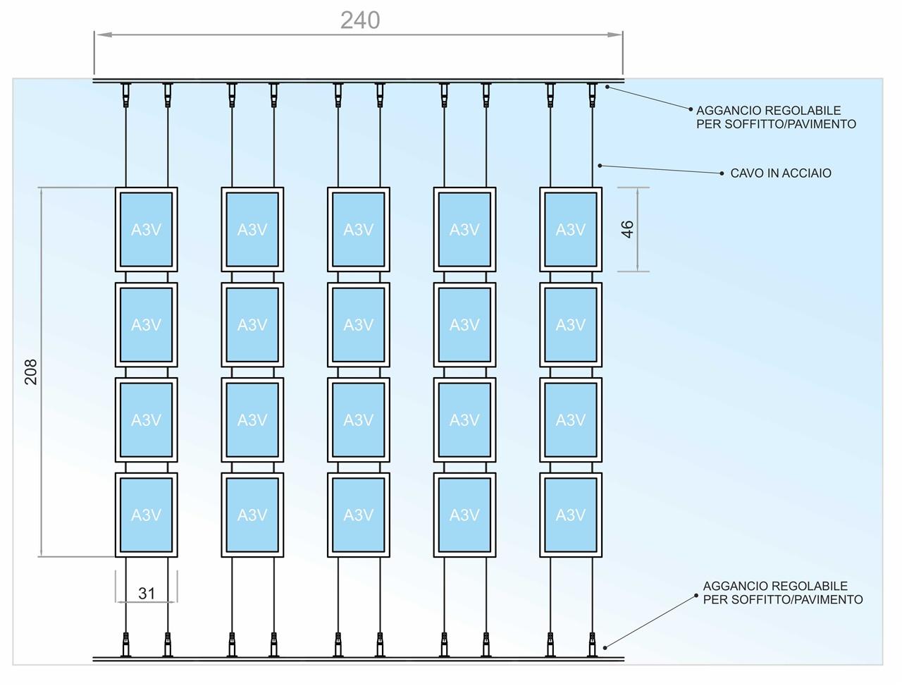 E spositore a cavetti con 20 tasche f.to A3 verticali (4 V. x 5 O.)
