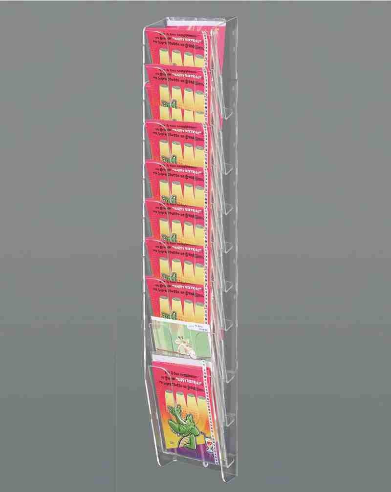 espositore da parete per biglietti augurali a 9 tasche inclinate sovrapposte