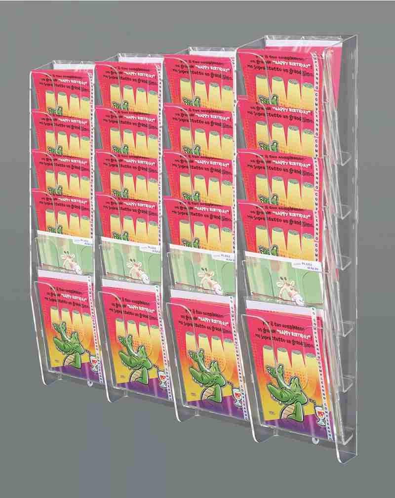 espositore da parete per biglietti augurali a 24 tasche inclinate sovrapposte