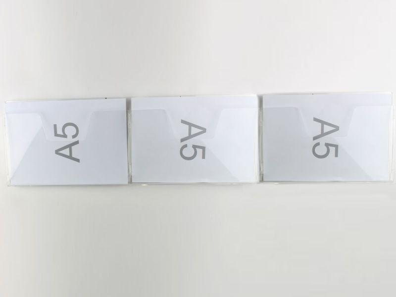 ESPOSITORE DA PARETE CON NR. 3 TASCHE PER FOGLI F.TO A5 ORIZZONTALI