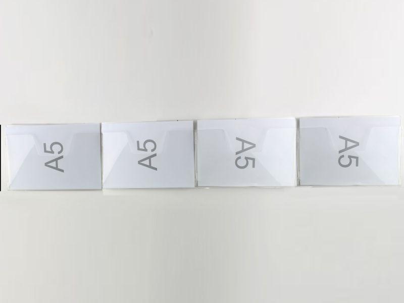 ESPOSITORE DA PARETE CON NR. 4 TASCHE PER FOGLI F.TO A5 ORIZZONTALI