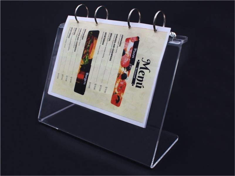 porta menu, leggio da banco per fogli A5 con anelli