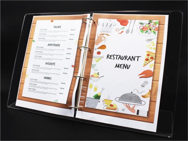 porta menu, leggio da banco per fogli a4 doppi con anelli