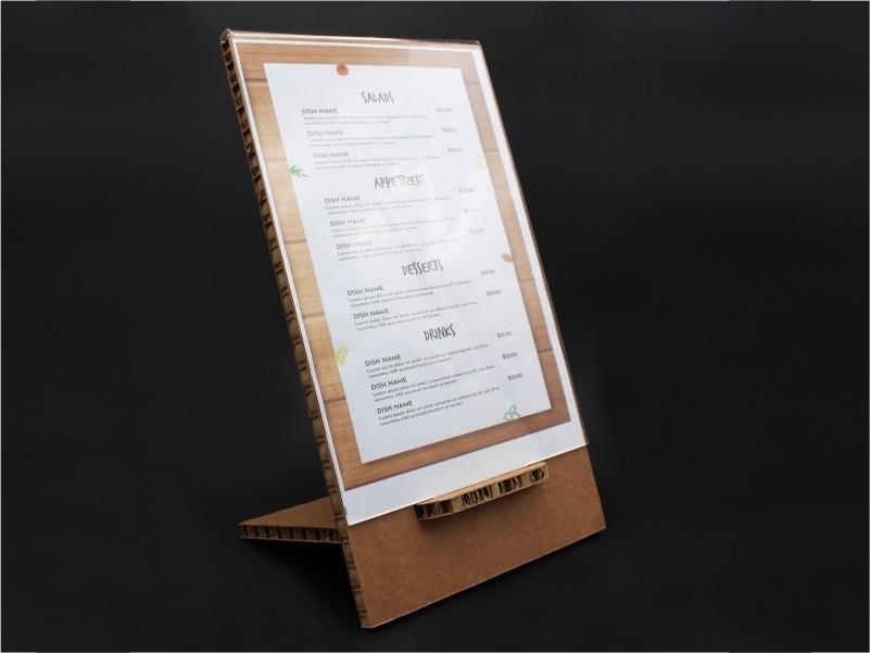 porta menu, leggio da banco in cartone e plexiglass