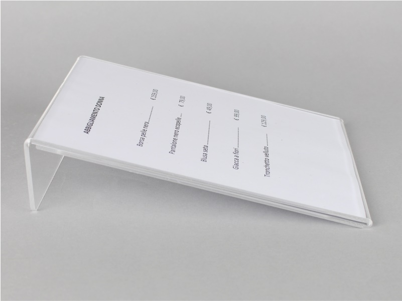 espositore porta prezzi, comunicazioni, avvisi 21,5x10 cm