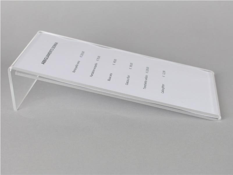 espositore porta prezzi, comunicazioni, avvisi 10x30 cm