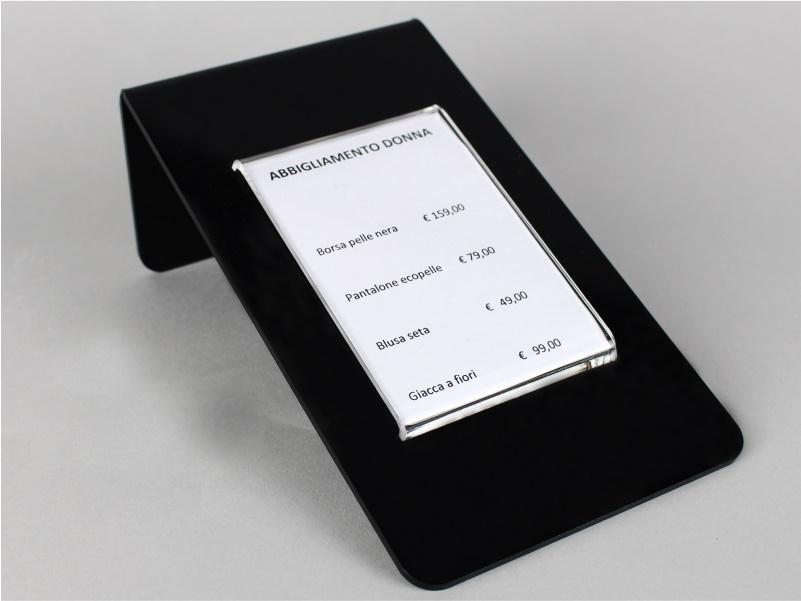 espositore porta prezzi, comunicazioni, avvisi plexiglass nero e trasparente 11,5X20 cm