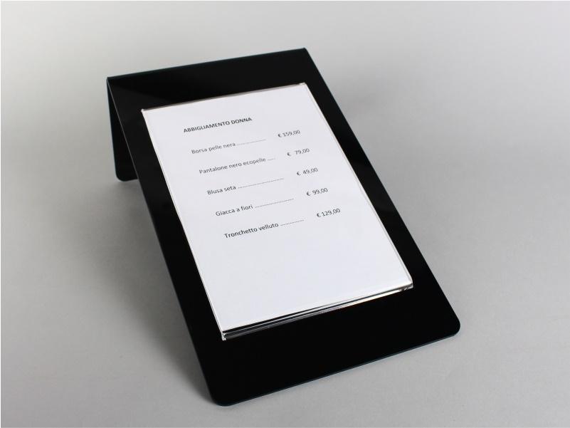 espositore porta prezzi, comunicazioni, avvisi plexiglass nero e trasparente 19X30,5 cm