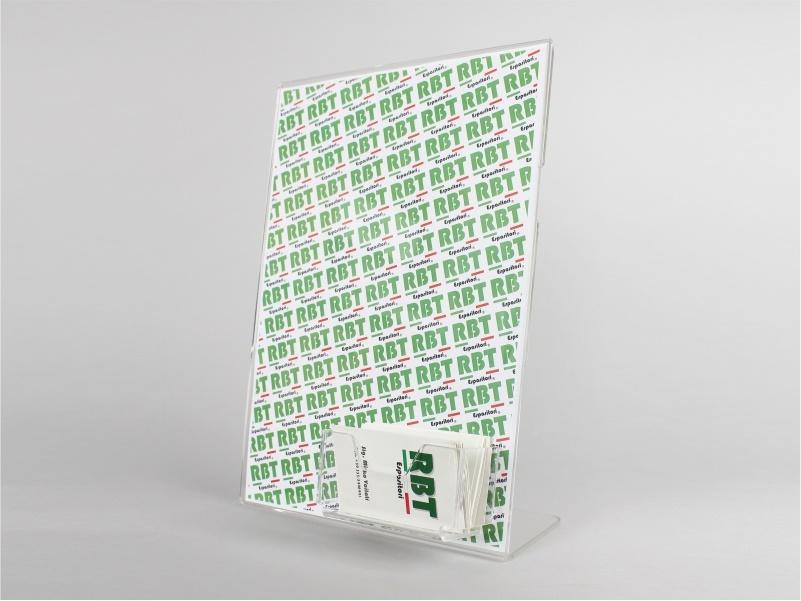 Espositore porta avvisi A4 verticale con tasca porta biglietti da visita
