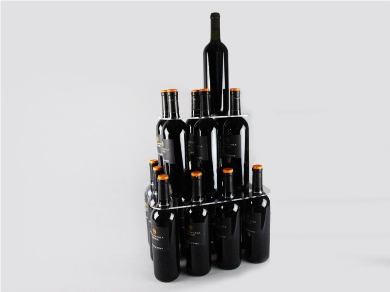 espositore per 17 bottiglie di vino a piramide
