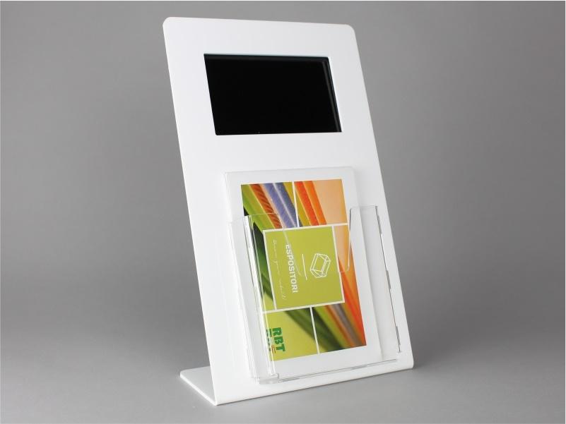 espositore digitale con tasca porta brochure