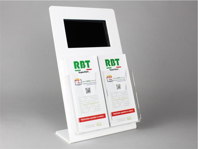espositore digitale con 2 tasche porta depliant