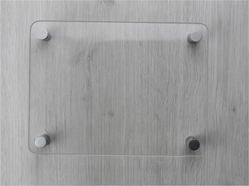 targa in plexiglass trasparente con angoli arrotondati