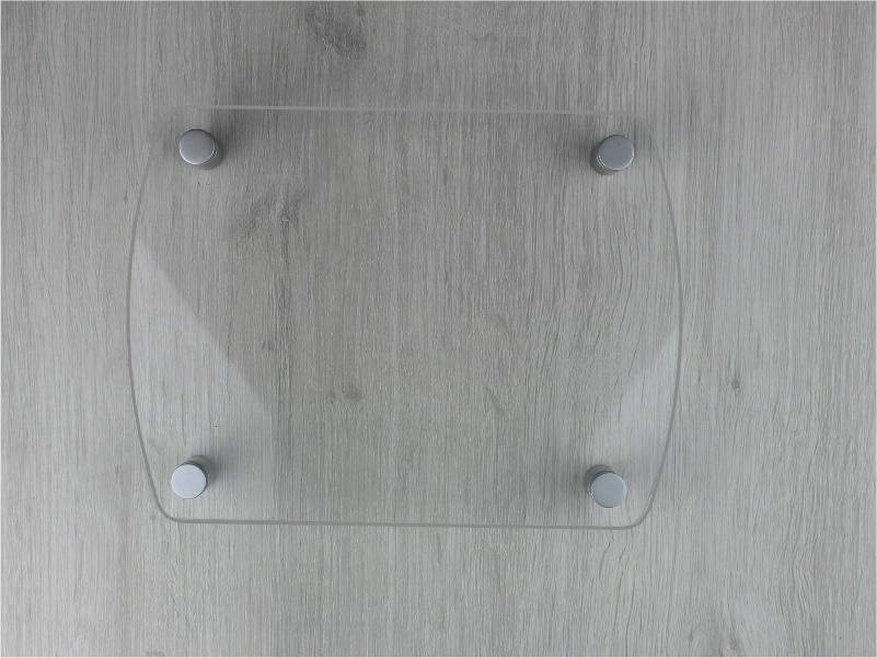 targa plexiglass trasparente con 2 lati curvi