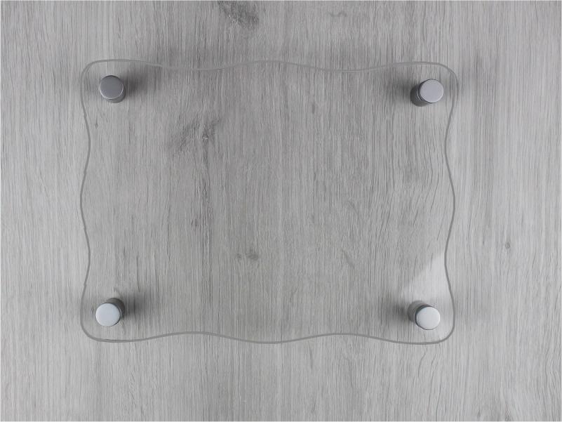 targa plexiglass trasparente con lati ondulati