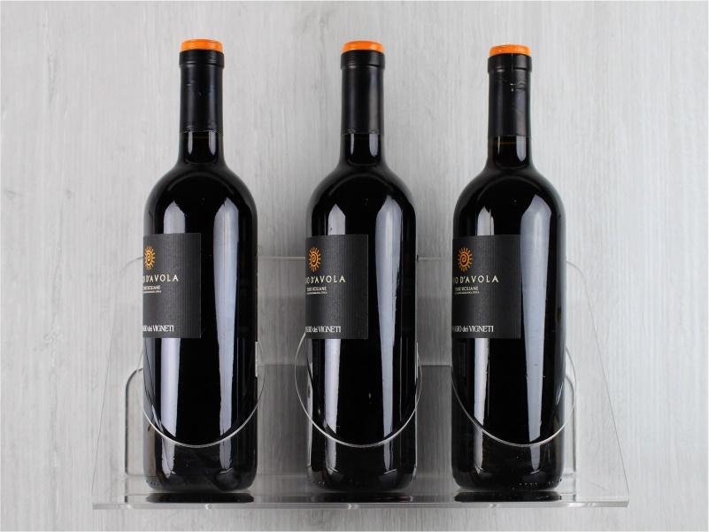 espositore da parete per bottiglie a 3 posti