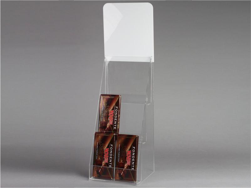 espositore per tavolette di cioccolato a 3 piani da banco