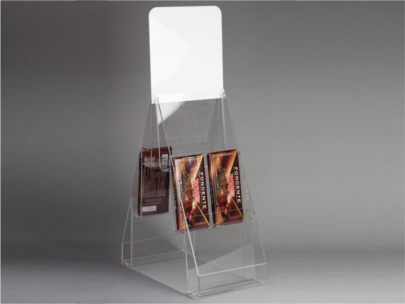 espositore per tavolette di cioccolato a 3 piani + 3 piani da banco