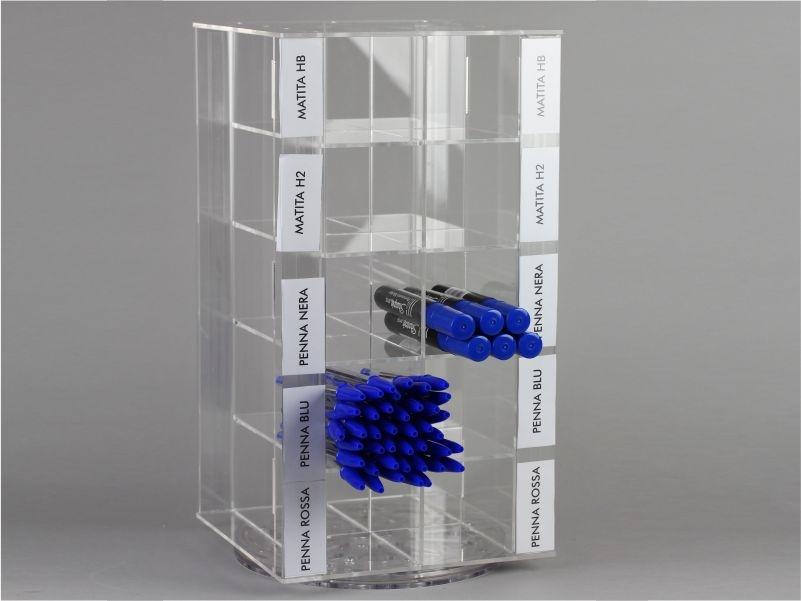 espositore porta penne con base girevole da banco a 20 scomparti